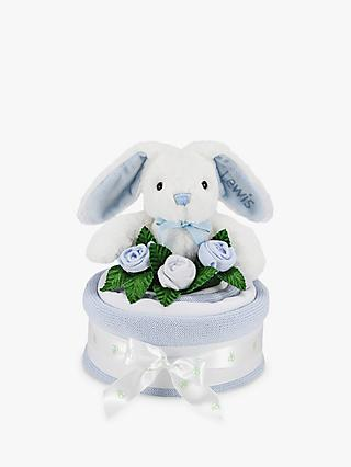 Babyblooms Blanket Cake with Personalised Baby Bunny Soft Toy, Light Blue
