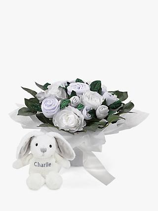 Babyblooms Luxury Baby Clothes Bouquet and Personalised Baby Bunny Soft Toy, White