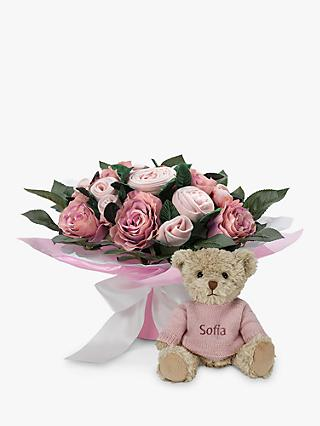 Babyblooms Luxury Baby Clothes Bouquet and Personalised Bertie Bear Soft Toy, Light Pink