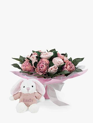 Babyblooms Luxury Baby Clothes Bouquet and Personalised Baby Bunny Soft Toy, Light Pink