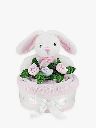 Babyblooms Blanket Cake with Personalised Baby Bunny Soft Toy, Light Pink