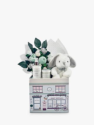 Babyblooms New Baby Welcome Hamper with Personalised Bunny Soft Toy, Light Grey
