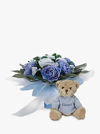 Babyblooms Luxury Baby Clothes Bouquet and Personalised Bertie Bear Soft Toy, Light Blue