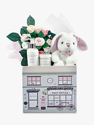 Babyblooms New Baby Welcome Hamper with Personalised Bunny Soft Toy, Light Pink