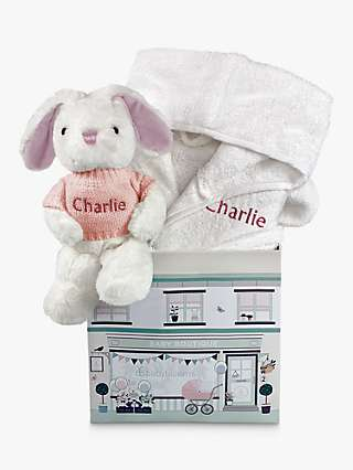 Babyblooms Personalised Bathrobe and Baby Bunny Soft Toy, 0-12 Months, White/Pink