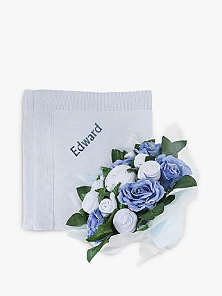 Babyblooms Luxury Baby Clothes Bouquet and Personalised Baby Blanket, Light Blue