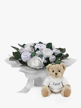 Babyblooms Luxury Baby Clothes Bouquet and Personalised Bertie Bear Soft Toy, White