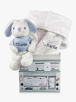 Babyblooms Personalised Bathrobe and Baby Bunny Soft Toy, 0-12 Months, White/Blue