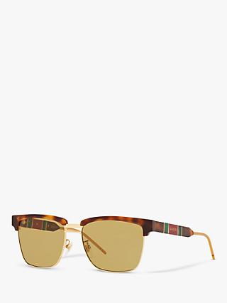 Gucci GG0603S Men's Rectangular Sunglasses, Tortoise/Yellow