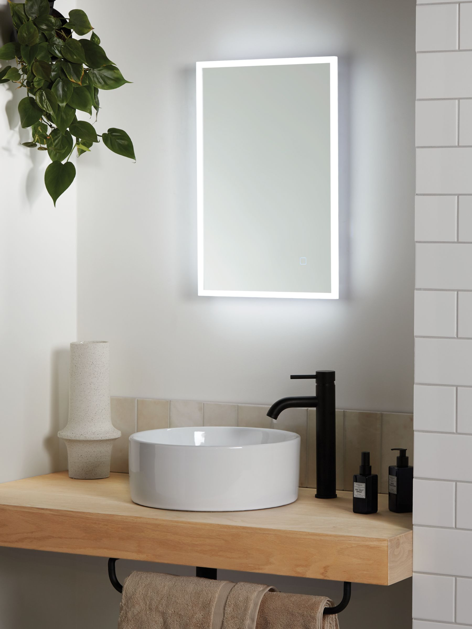 Picture of: John Lewis Partners Aura Wall Mounted Illuminated Bathroom Mirror Small At John Lewis Partners