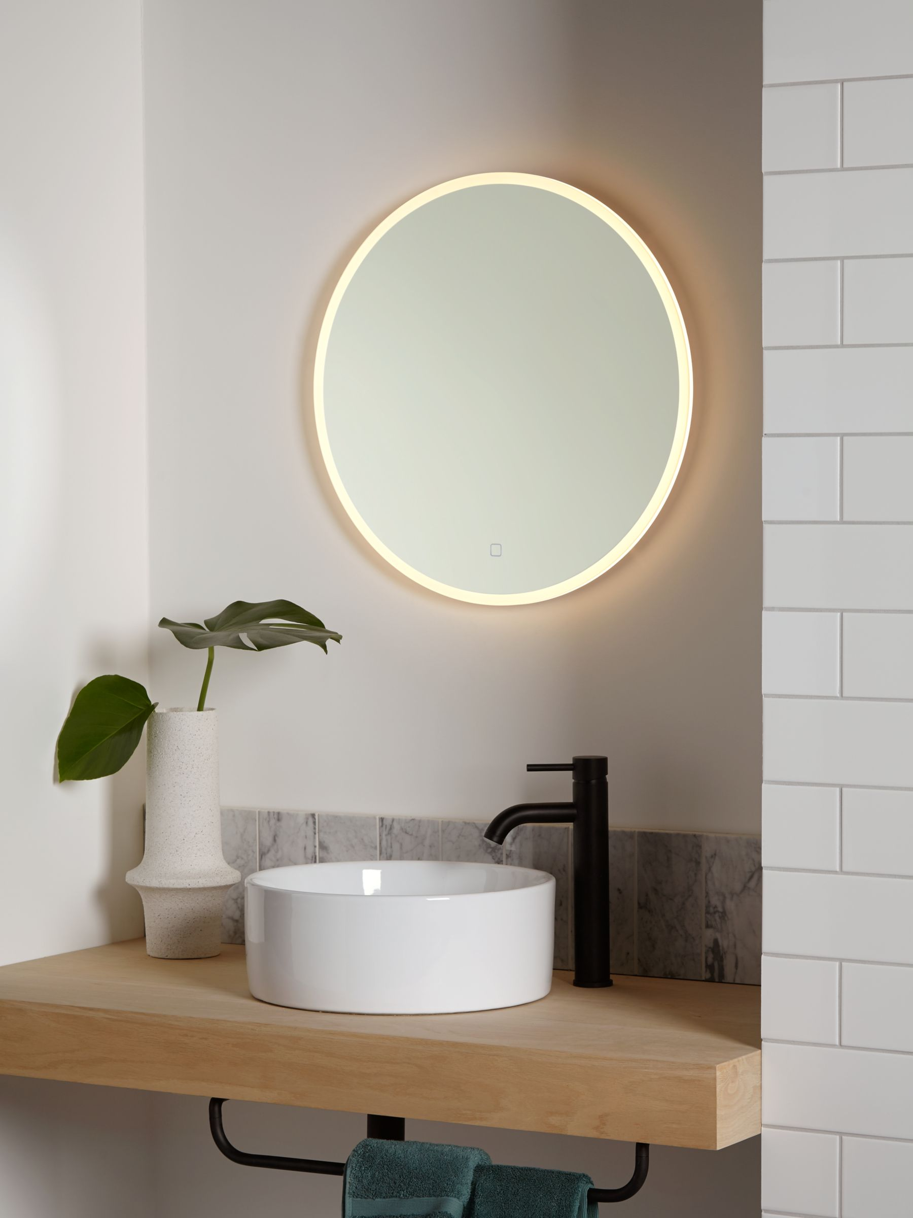 Picture of: John Lewis Partners Aura Wall Mounted Illuminated Bathroom Mirror Round At John Lewis Partners