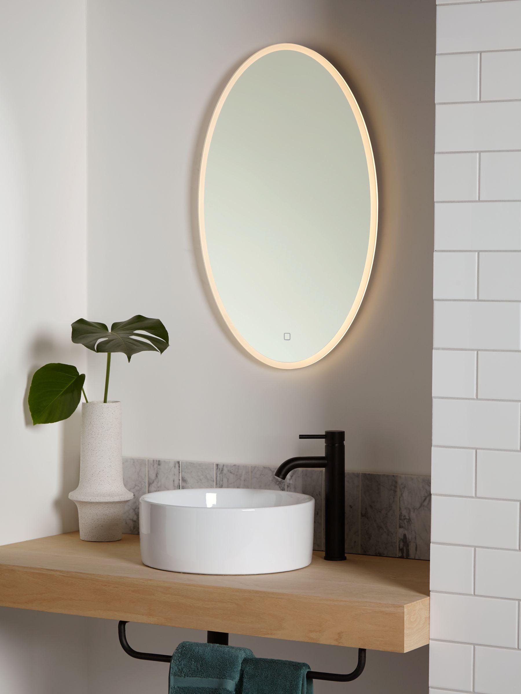 John Lewis Partners Aura Wall Mounted Illuminated Bathroom Mirror Oval