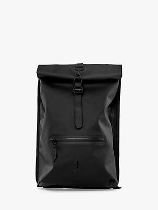 Rains Rolltop Water Resistant Backpack, Black