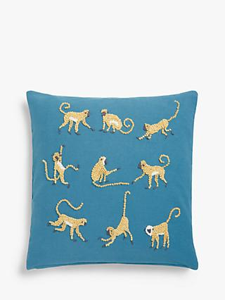 John Lewis & Partners French Knot Monkeys Cushion, Blue