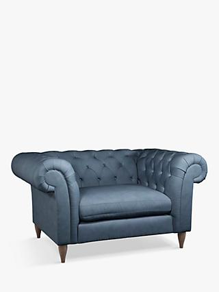 John Lewis & Partners Cromwell Chesterfield Leather Snuggler, Dark Leg
