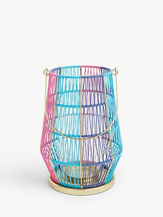 John Lewis & Partners Summer Lantern Candle Holder, Pink/Blue, H26 cm