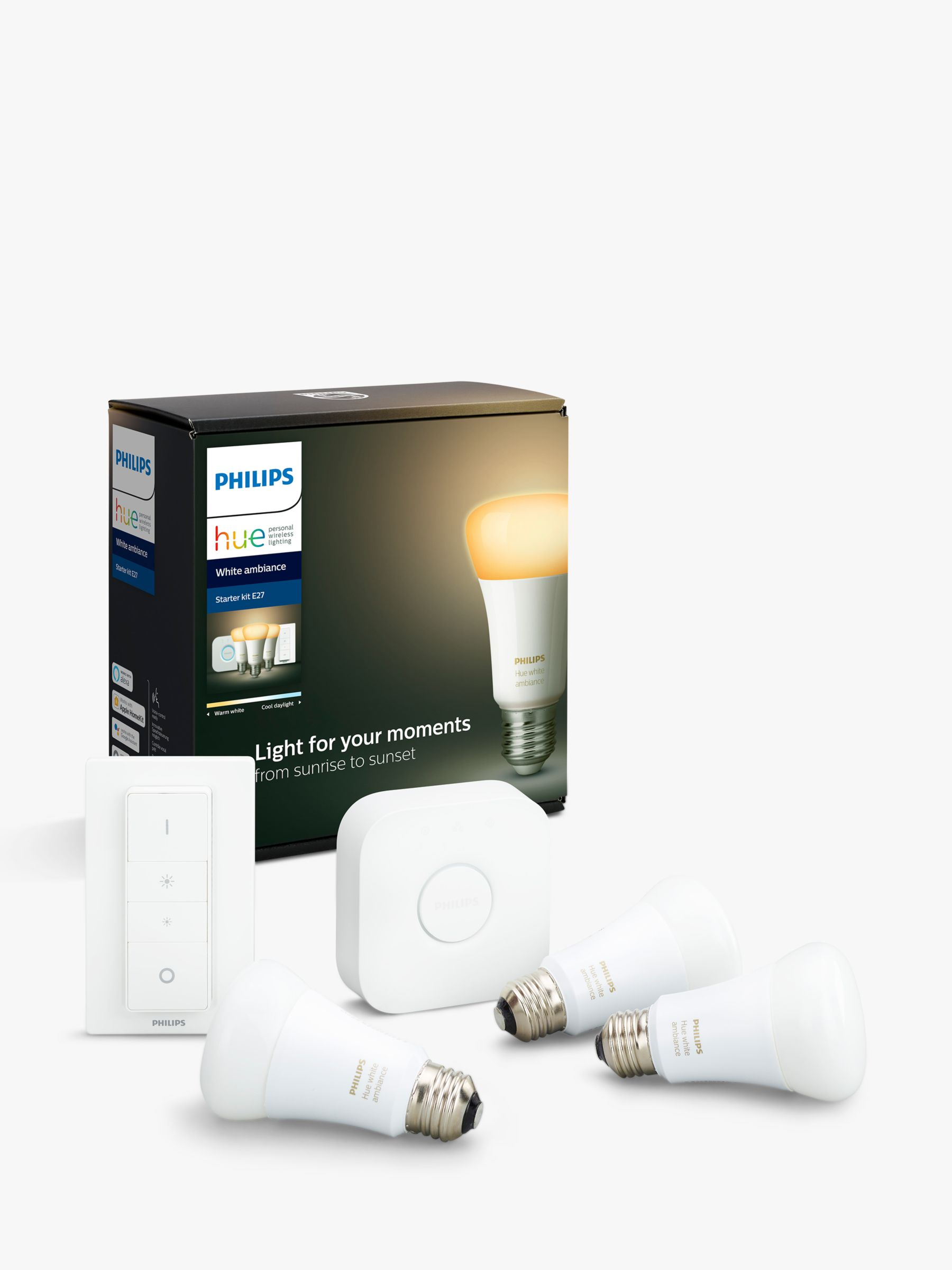 Philips Philips Hue White Ambiance Wireless Lighting LED Starter Kit with 3 E27 Bulbs with Bluetooth, Dimmer Switch & Bridge