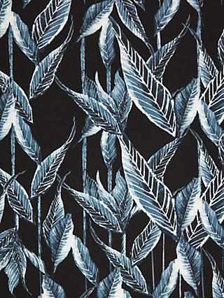 Litmans Painted Leaves Print Fabric, Blue