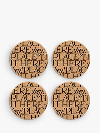 Emma Bridgewater Black Toast Round Cork Coasters, Set of 4, Natural