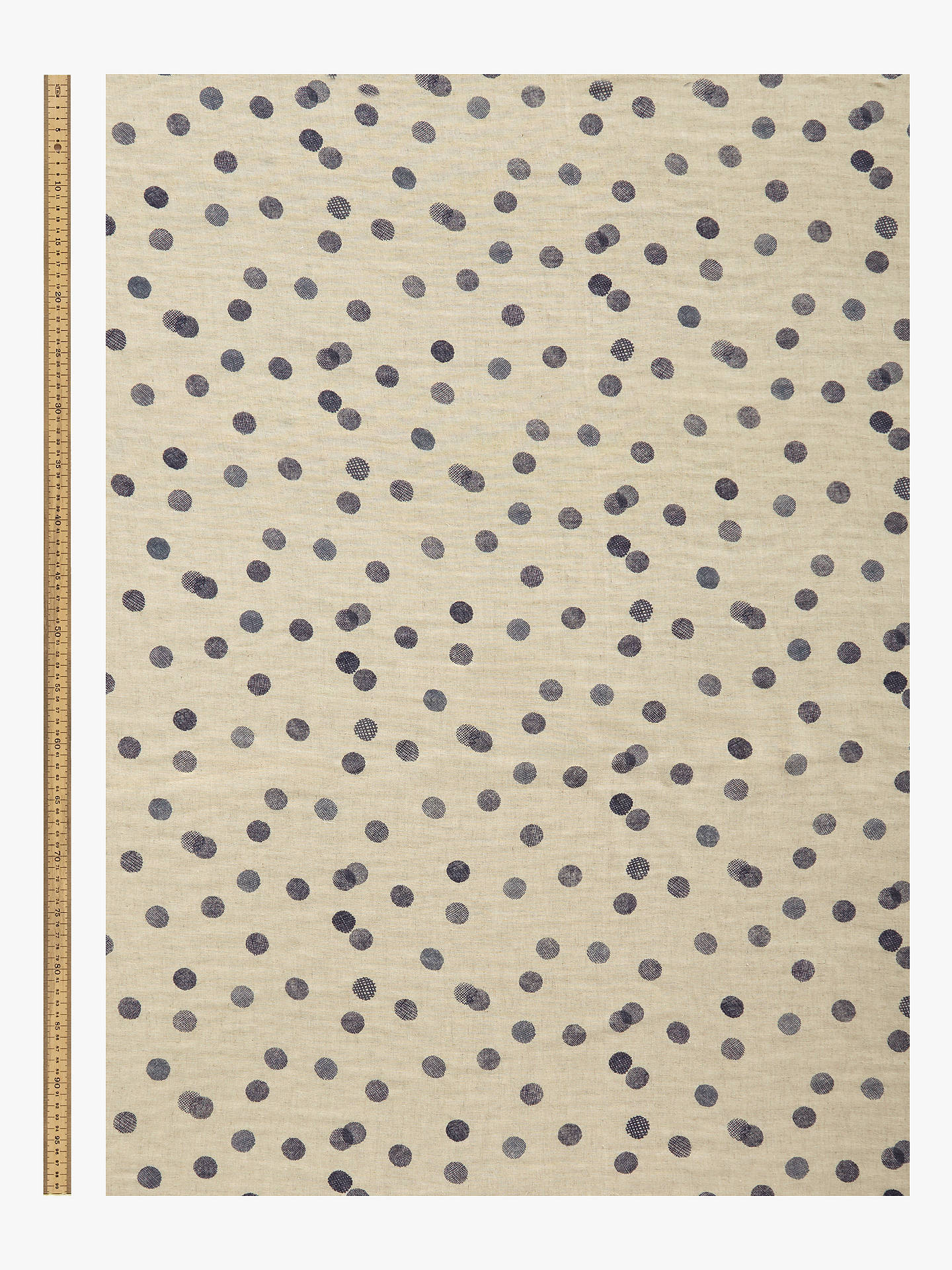Buy Kokka Denim Texture Spot Print Fabric, Cream/Blue Online at johnlewis.com