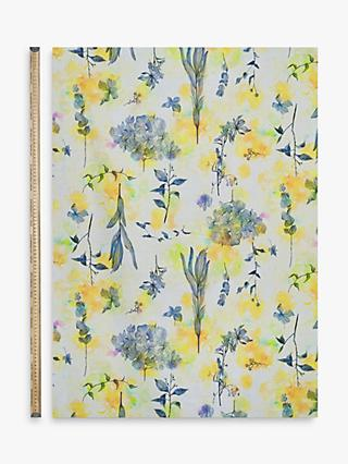 Kokka Floral Yellow Ink Fabric, White/Yellow