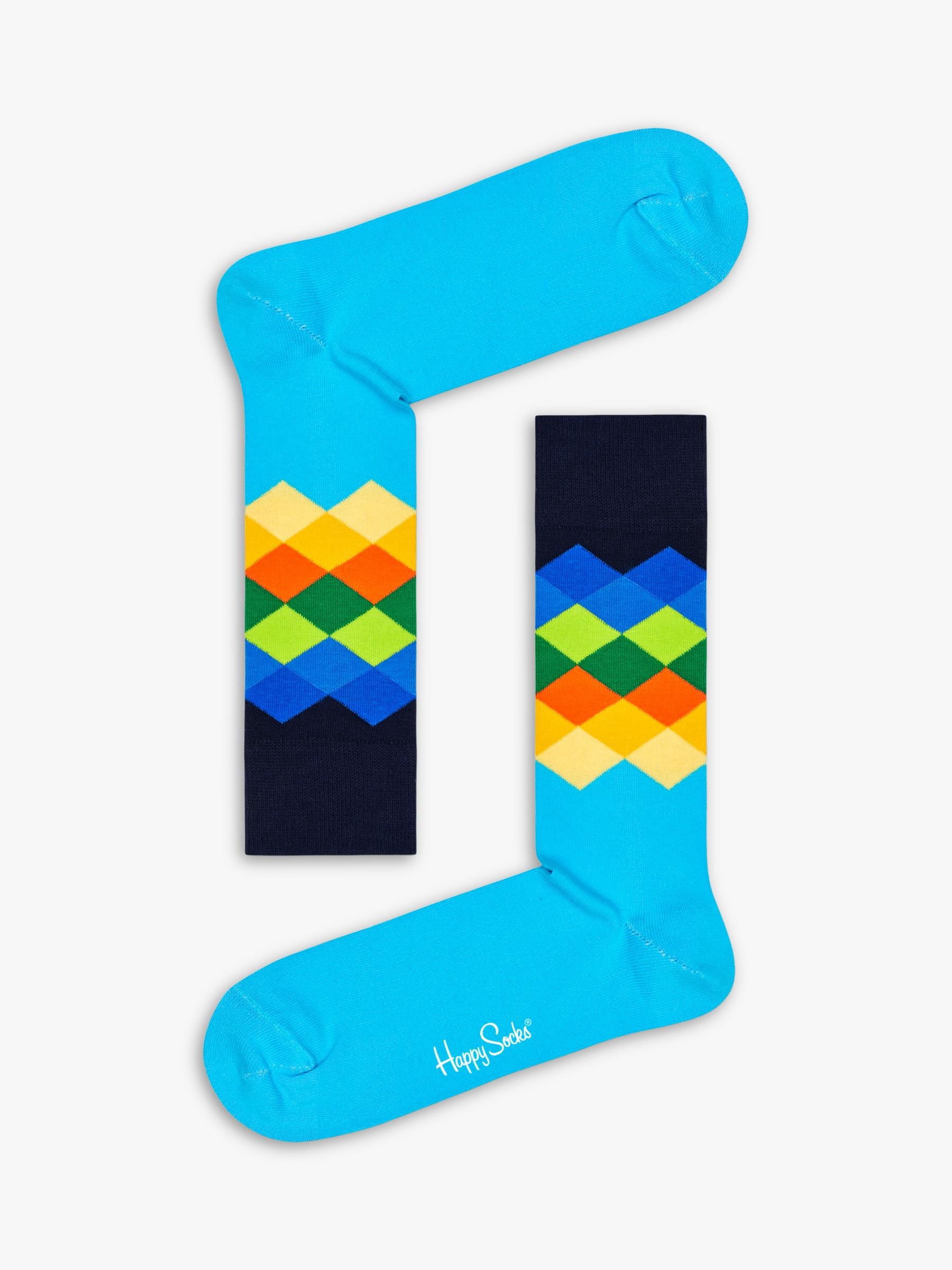 Happy Socks Happy Socks Faded Diamond Socks, Brit Blue, One Size