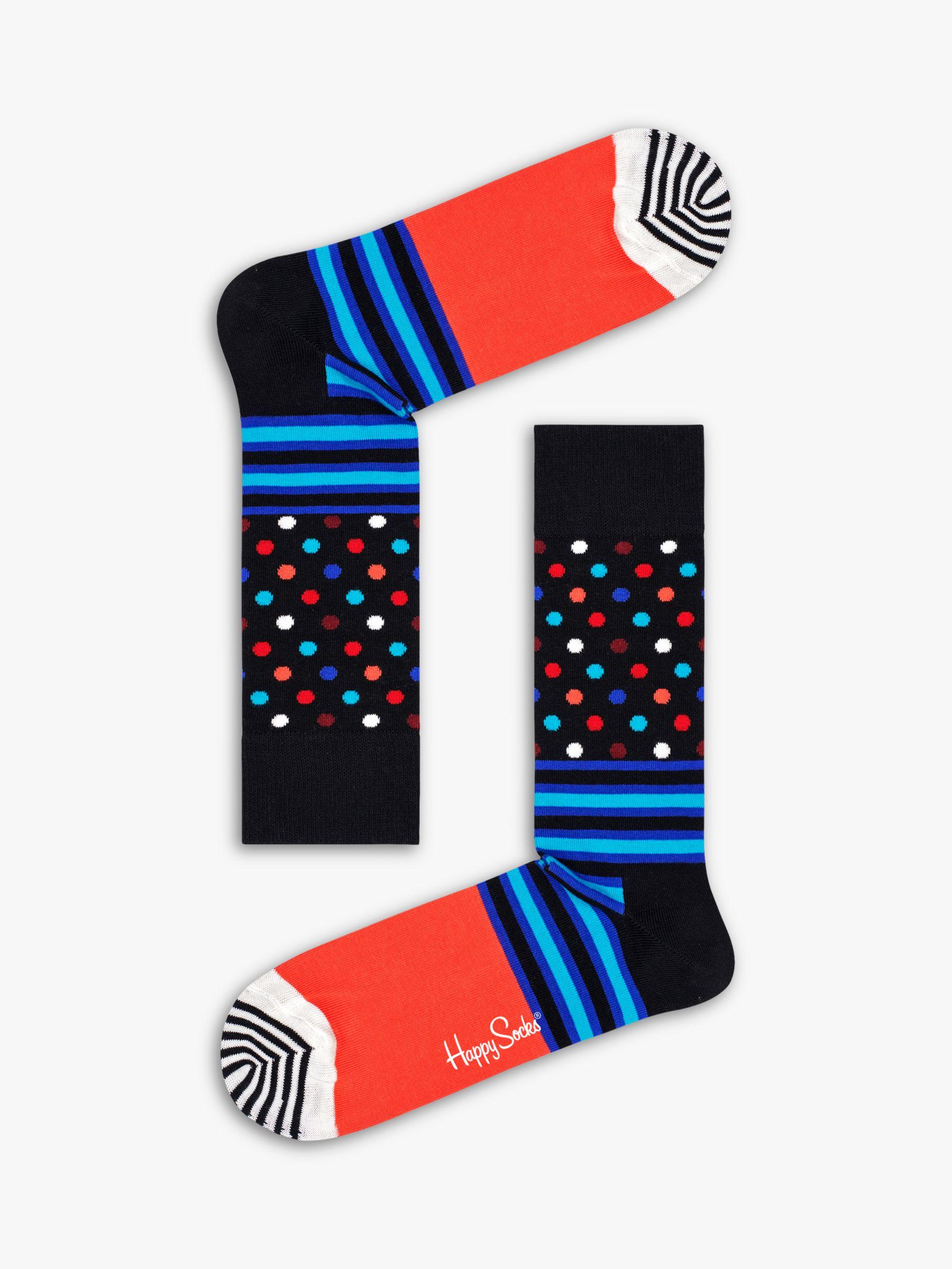 Happy Socks Happy Socks Stripes And Dots Socks, One Size, Black/Orange