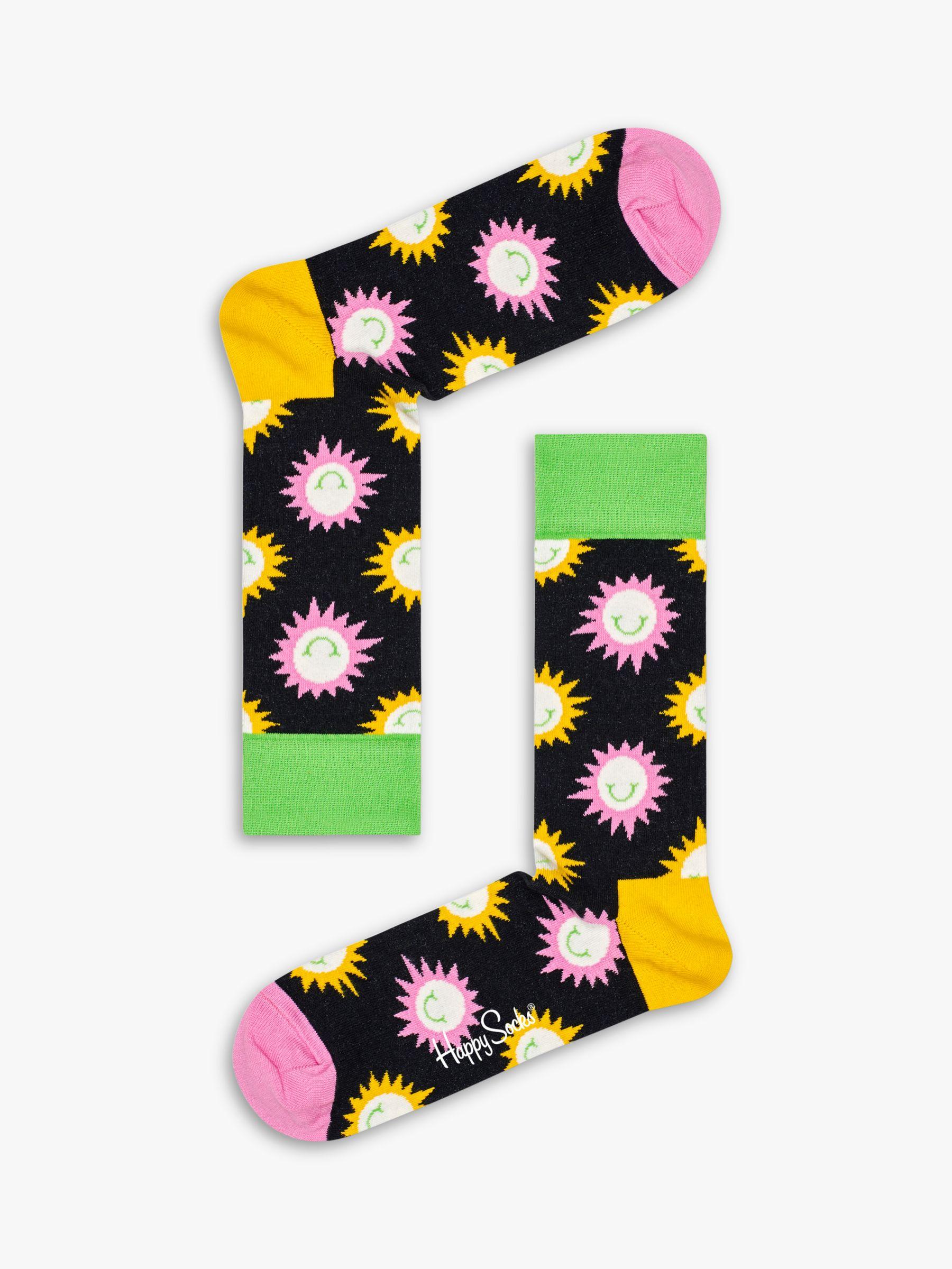Happy Socks Happy Socks Sunny Smile Print Socks, One Size, Black