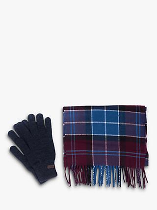 Barbour Tartan Scarf and Glove Gift Set, Merlot