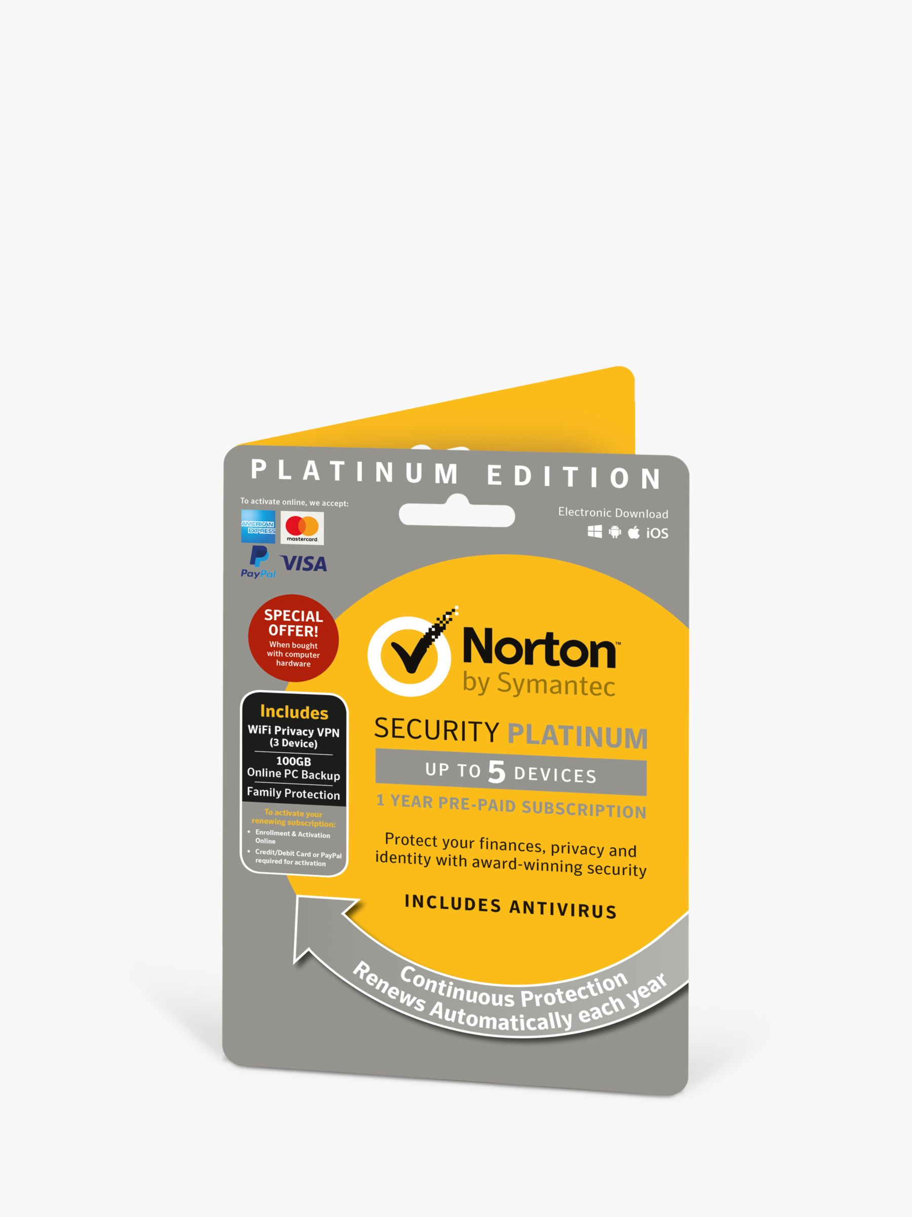 Norton Norton Security Platinum 2019, Multi-Device Antivirus and Firewall Software, 1 Year Subscription