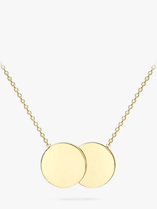 IBB Personalised 9ct Gold Double Disc Pendant Necklace