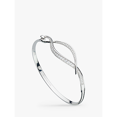 Kit Heath Cubic Zirconia Twist Hinged Bangle, Silver