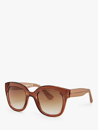 John Lewis & Partners Women's Square Sunglasses, Dark Orange/Brown Gradient