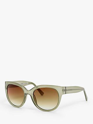 John Lewis & Partners Women's Cat's Eye Sunglasses, Crystal Green/Brown Gradient