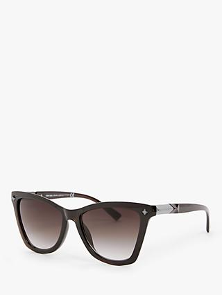 John Lewis & Partners Women's Metal Trim Cat's Eye Sunglasses, Polished Brown/Brown Gradient