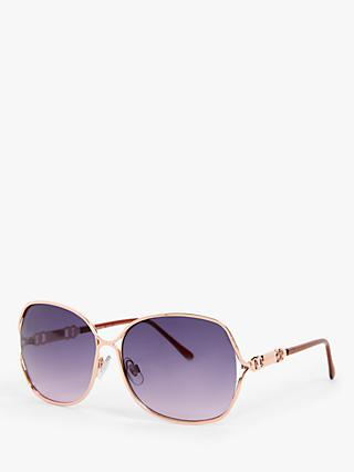 John Lewis & Partners Women's Oversized Square Sunglasses, Rose Gold/Purple Gradient
