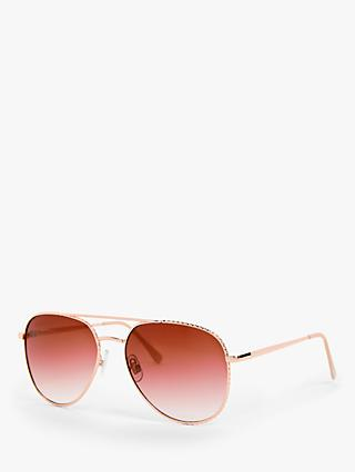 John Lewis & Partners Women's Aviator Sunglasses, Rose Gold/Pink Gradient