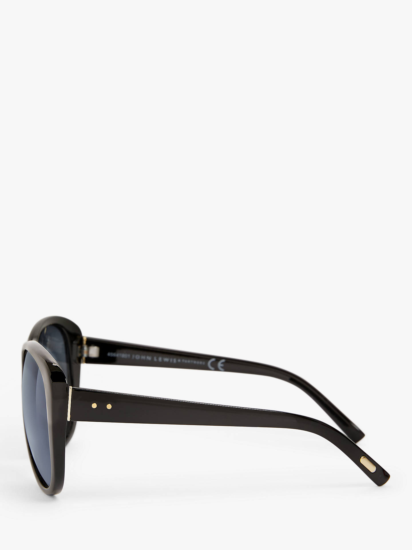 Buy John Lewis & Partners Women's Gold Trim Square Sunglasses, Black/Blue Online at johnlewis.com