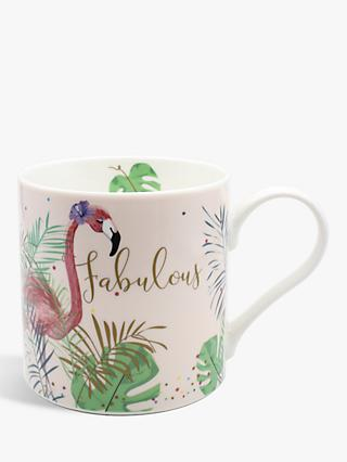 Belly Button Designs Fabulous Flamingo Mug, 350ml, Pink/Multi