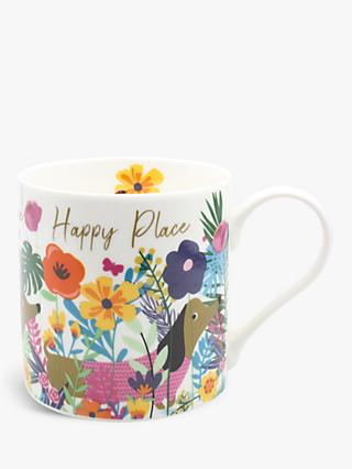 Belly Button Designs Sausage Dog 'Happy Place' Mug, 350ml, Multi