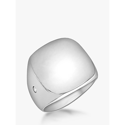 IBB Personalised Unisex Cubic Zirconia Square Signature Ring, Silver