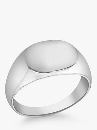 IBB Personalised Unisex Oval Signature Ring, Silver