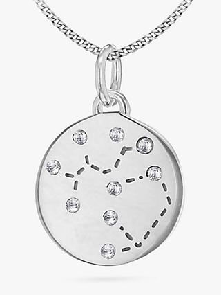 IBB Personalised Sagittarius Star Sign Disc Pendant Necklace, Silver