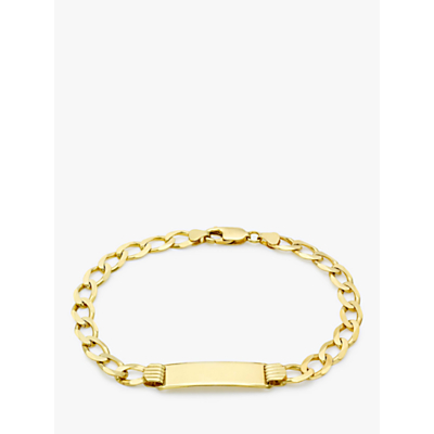 IBB Personalised Unisex 9ct Gold Curb Chain Bracelet, Gold
