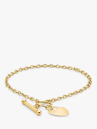 IBB Personalised 9ct Gold Heart Charm T Bar Chain Bracelet, Gold