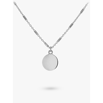 Image of IBB Personalised Sterling Silver Disc Bar Chain Pendant Necklace, Silver