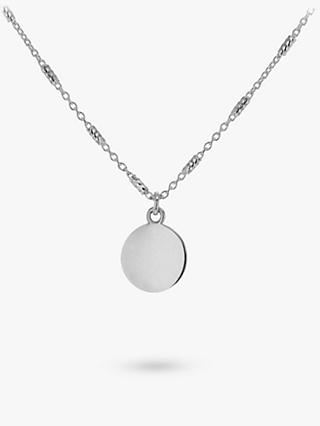 IBB Personalised Sterling Silver Disc Bar Chain Pendant Necklace, Silver
