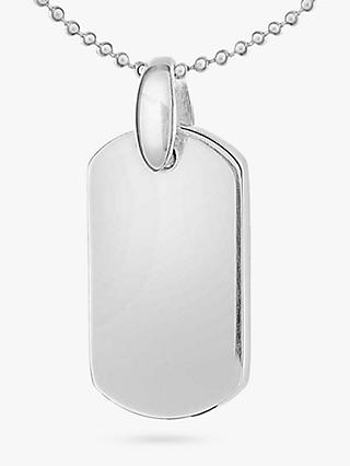 IBB Personalised Sterling Silver Dog Tag Pendant Necklace, Silver
