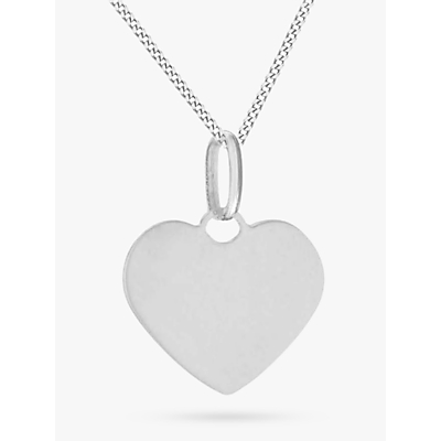 IBB Personalised Sterling Silver Heart Pendant Necklace, Silver