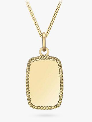 IBB Personalised 9ct Gold Dot Edge Rectangle Pendant Necklace, Gold